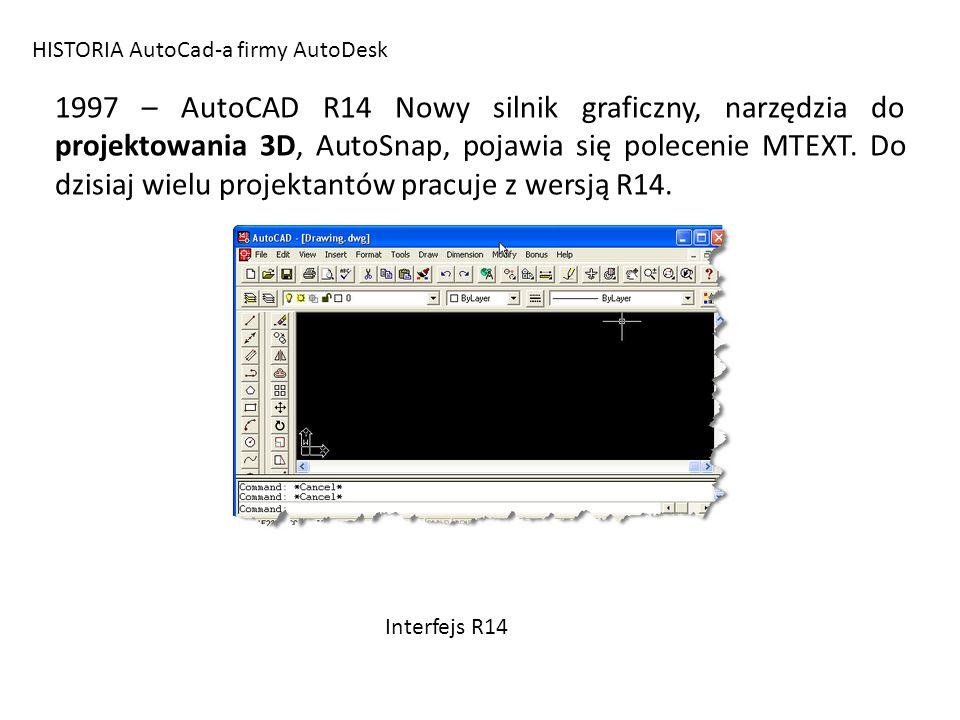 HISTORIA AutoCad-a firmy AutoDesk 1997 – AutoCAD R14 Nowy silnik graficzny, narzędzia do projektowania 3D, AutoSnap, pojawia się polecenie MTEXT. Do d