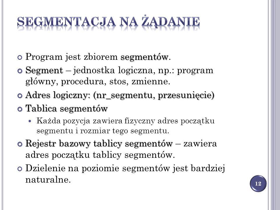 segmentów Program jest zbiorem segmentów. Segment Segment – jednostka logiczna, np.: program główny, procedura, stos, zmienne. Adres logiczny: (nr_seg