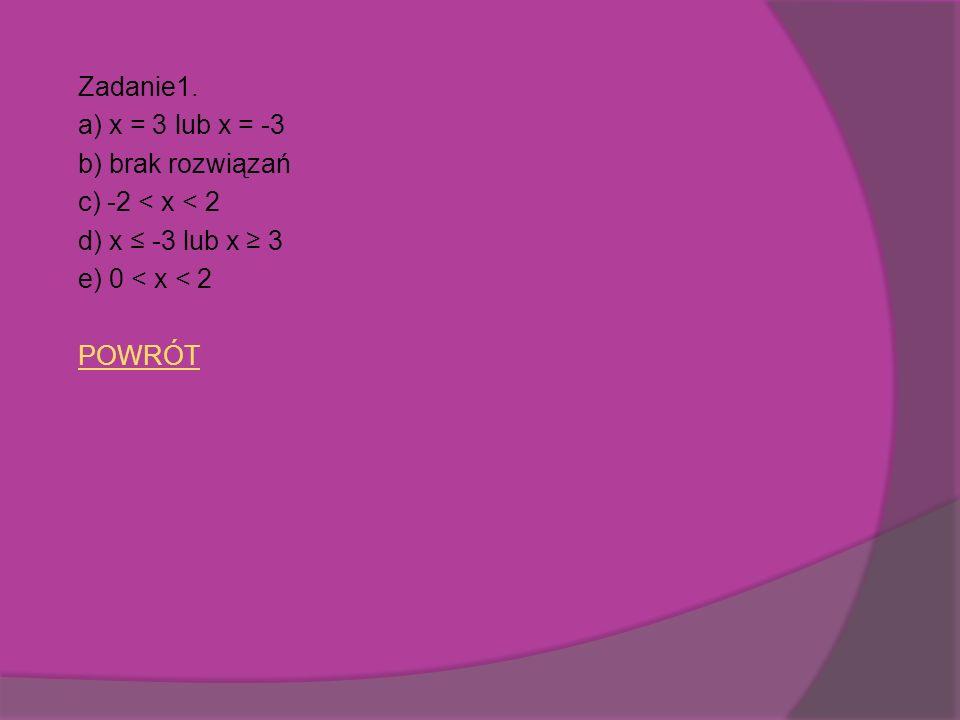 Zadanie1. a) x = 3 lub x = -3 b) brak rozwiązań c) -2 < x < 2 d) x -3 lub x 3 e) 0 < x < 2 POWRÓT