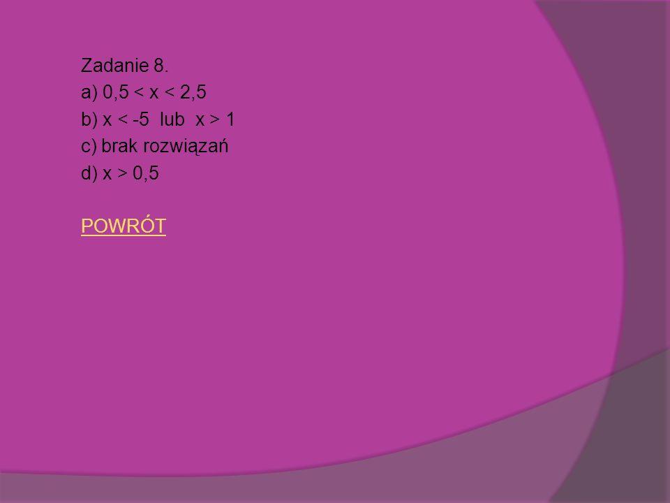 Zadanie 8. a) 0,5 < x < 2,5 b) x 1 c) brak rozwiązań d) x > 0,5 POWRÓT