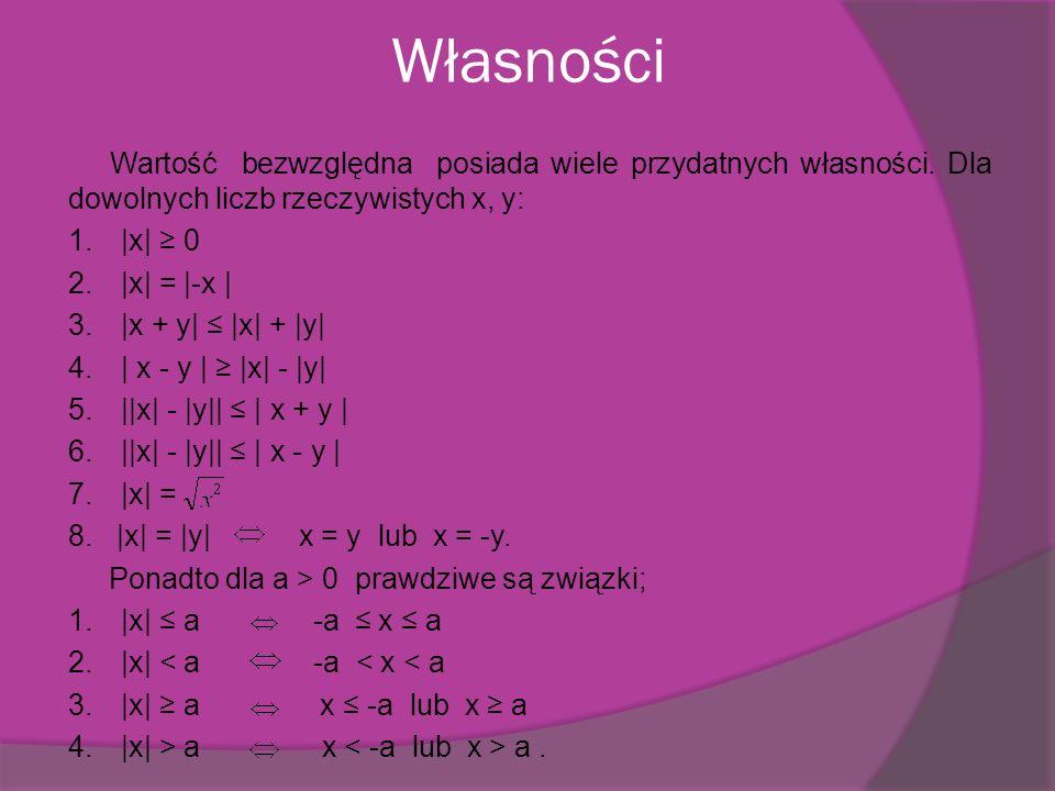 Przykładowe zadania Zadanie 1.Oblicz x, wiedząc, że: |x| = 0,8.