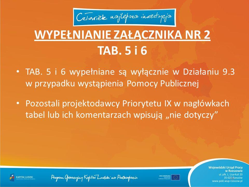 48 WYPEŁNIANIE ZAŁĄCZNIKA NR 2 TAB. 5 i 6 TAB. 5 i 6 wypełniane są wyłącznie w Działaniu 9.3 w przypadku wystąpienia Pomocy Publicznej Pozostali proje