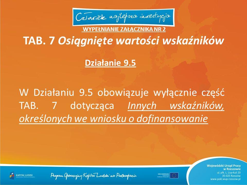 Działanie 9.5 WYPEŁNIANIE ZAŁĄCZNIKA NR 2 TAB. 7 Osiągnięte wartości wskaźników W Działaniu 9.5 obowiązuje wyłącznie część TAB. 7 dotycząca Innych wsk
