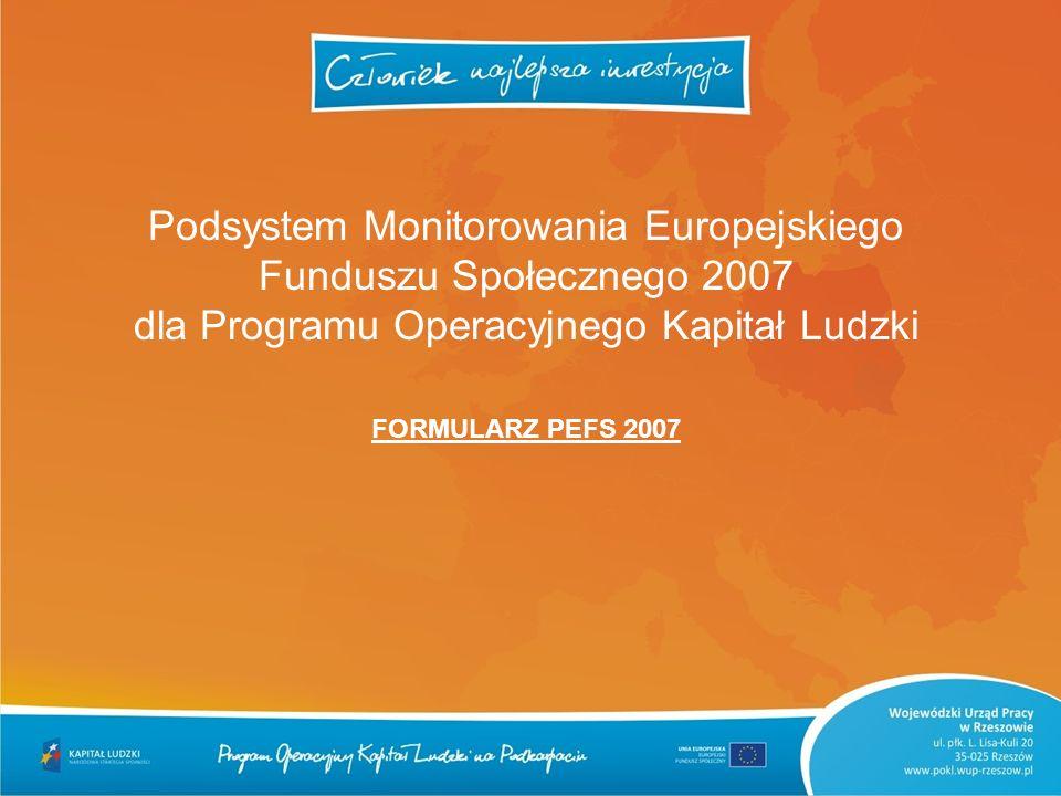 Podsystem Monitorowania Europejskiego Funduszu Społecznego 2007 dla Programu Operacyjnego Kapitał Ludzki FORMULARZ PEFS 2007