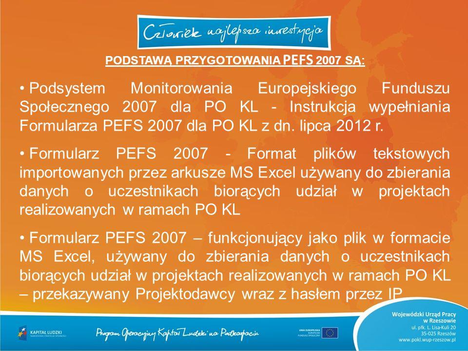PODSTAWĄ PRZYGOTOWANIA PEFS 2007 SĄ: Podsystem Monitorowania Europejskiego Funduszu Społecznego 2007 dla PO KL - Instrukcja wypełniania Formularza PEF