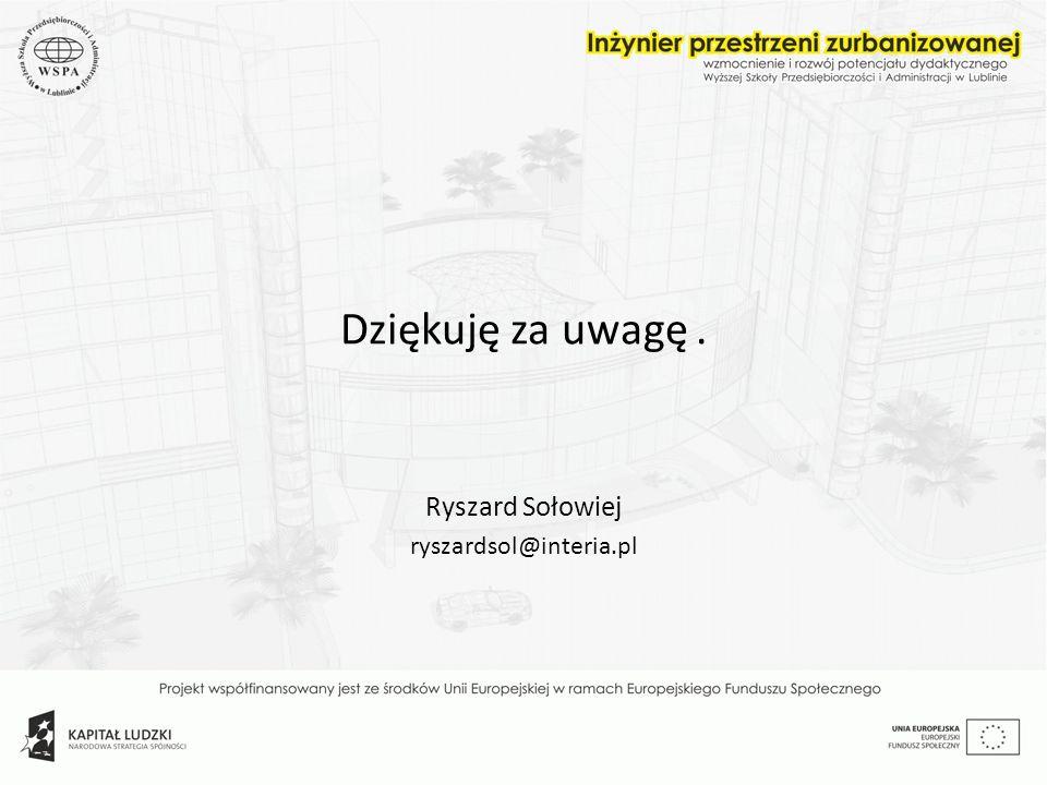 Dziękuję za uwagę. Ryszard Sołowiej ryszardsol@interia.pl