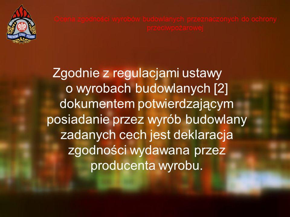 Ocena zgodności wyrobów budowlanych przeznaczonych do ochrony przeciwpożarowej Zgodnie z regulacjami ustawy o wyrobach budowlanych [2] dokumentem potw