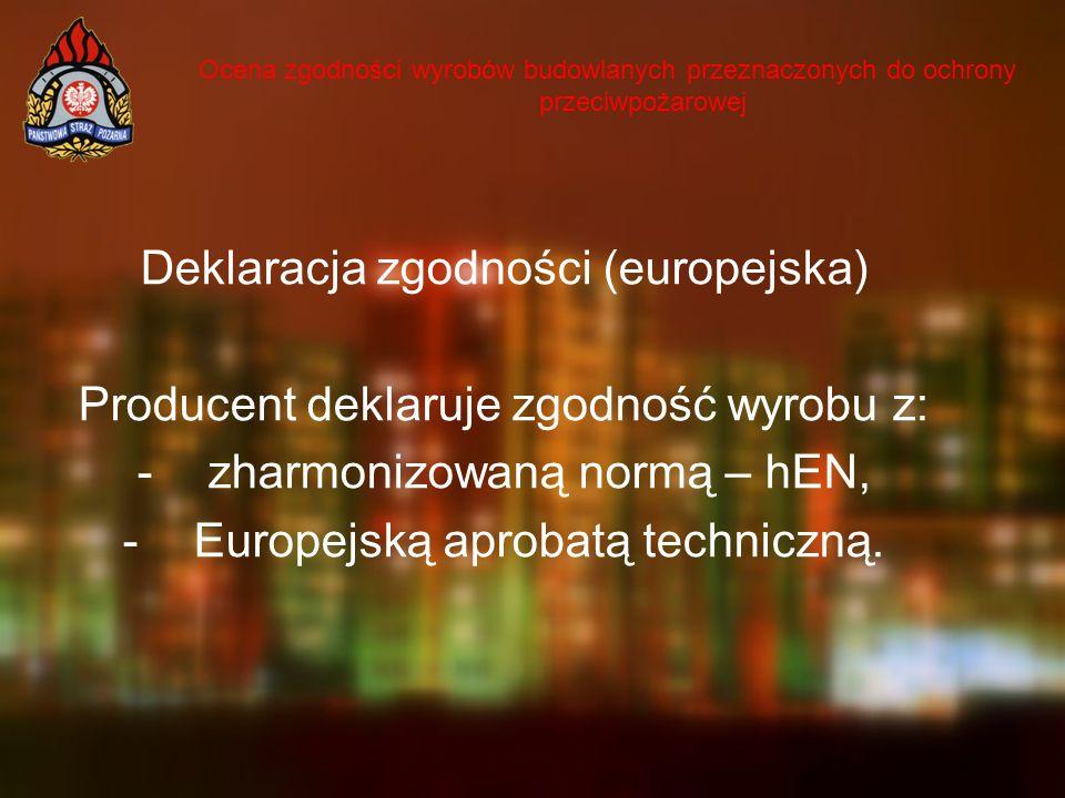 Ocena zgodności wyrobów budowlanych przeznaczonych do ochrony przeciwpożarowej Deklaracja zgodności (europejska) Producent deklaruje zgodność wyrobu z