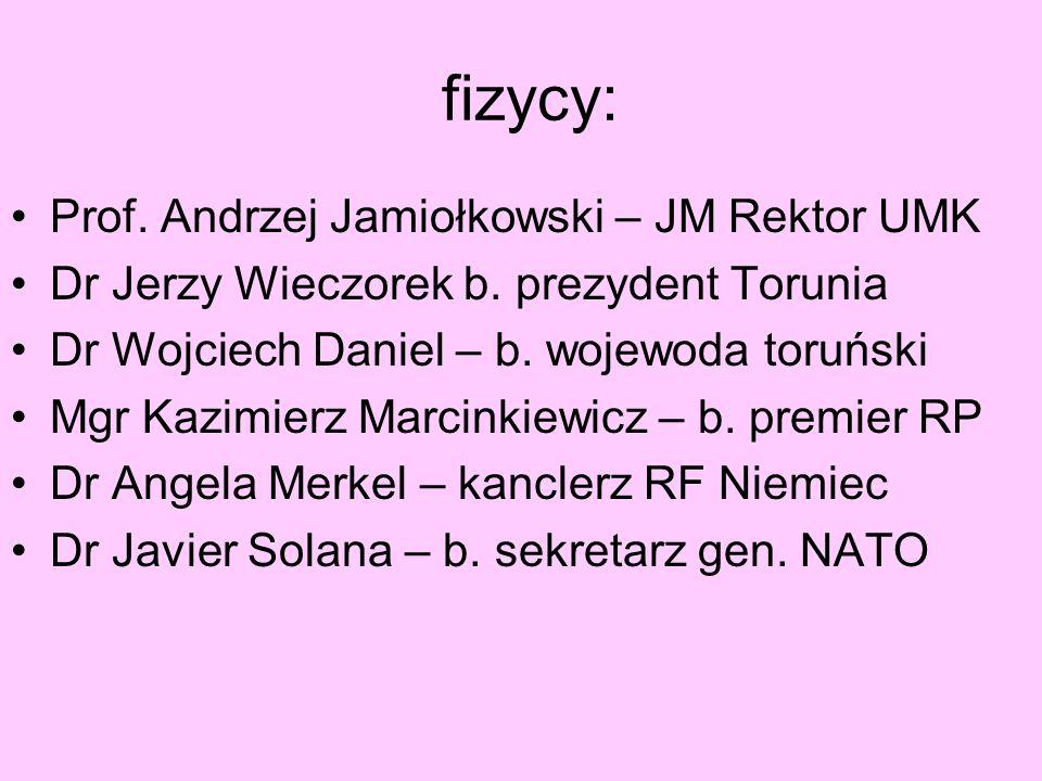 fizycy: Prof. Andrzej Jamiołkowski – JM Rektor UMK Dr Jerzy Wieczorek b. prezydent Torunia Dr Wojciech Daniel – b. wojewoda toruński Mgr Kazimierz Mar