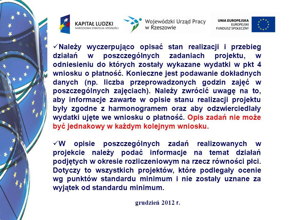 grudzień 2012 r. Należy wyczerpująco opisać stan realizacji i przebieg działań w poszczególnych zadaniach projektu, w odniesieniu do których zostały w
