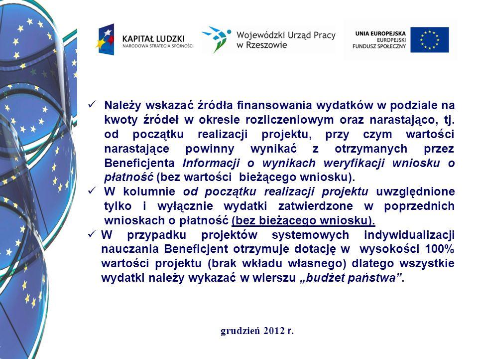grudzień 2012 r. Należy wskazać źródła finansowania wydatków w podziale na kwoty źródeł w okresie rozliczeniowym oraz narastająco, tj. od początku rea