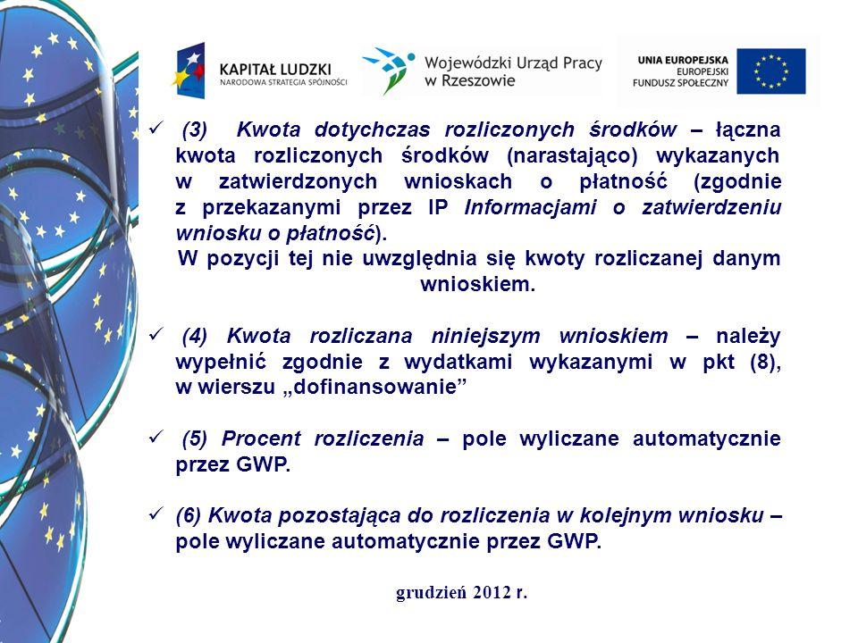 grudzień 2012 r. (3) Kwota dotychczas rozliczonych środków – łączna kwota rozliczonych środków (narastająco) wykazanych w zatwierdzonych wnioskach o p