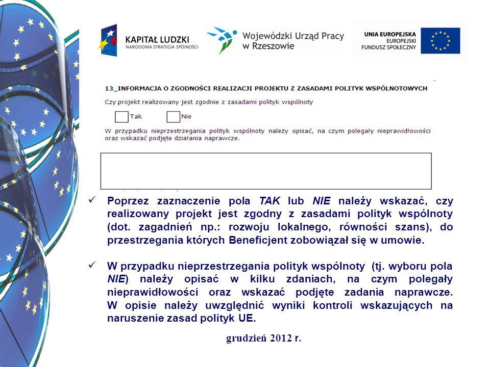 grudzień 2012 r. Poprzez zaznaczenie pola TAK lub NIE należy wskazać, czy realizowany projekt jest zgodny z zasadami polityk wspólnoty (dot. zagadnień