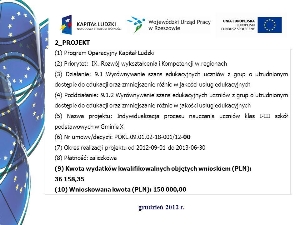 grudzień 2012 r. 2_PROJEKT (1) Program Operacyjny Kapitał Ludzki (2) Priorytet: IX. Rozwój wykształcenia i Kompetencji w regionach (3) Działanie: 9.1