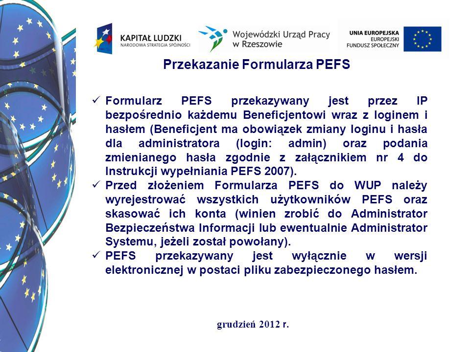 grudzień 2012 r. Przekazanie Formularza PEFS Formularz PEFS przekazywany jest przez IP bezpośrednio każdemu Beneficjentowi wraz z loginem i hasłem (Be