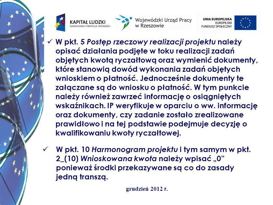 W pkt. 5 Postęp rzeczowy realizacji projektu należy opisać działania podjęte w toku realizacji zadań objętych kwotą ryczałtową oraz wymienić dokumenty