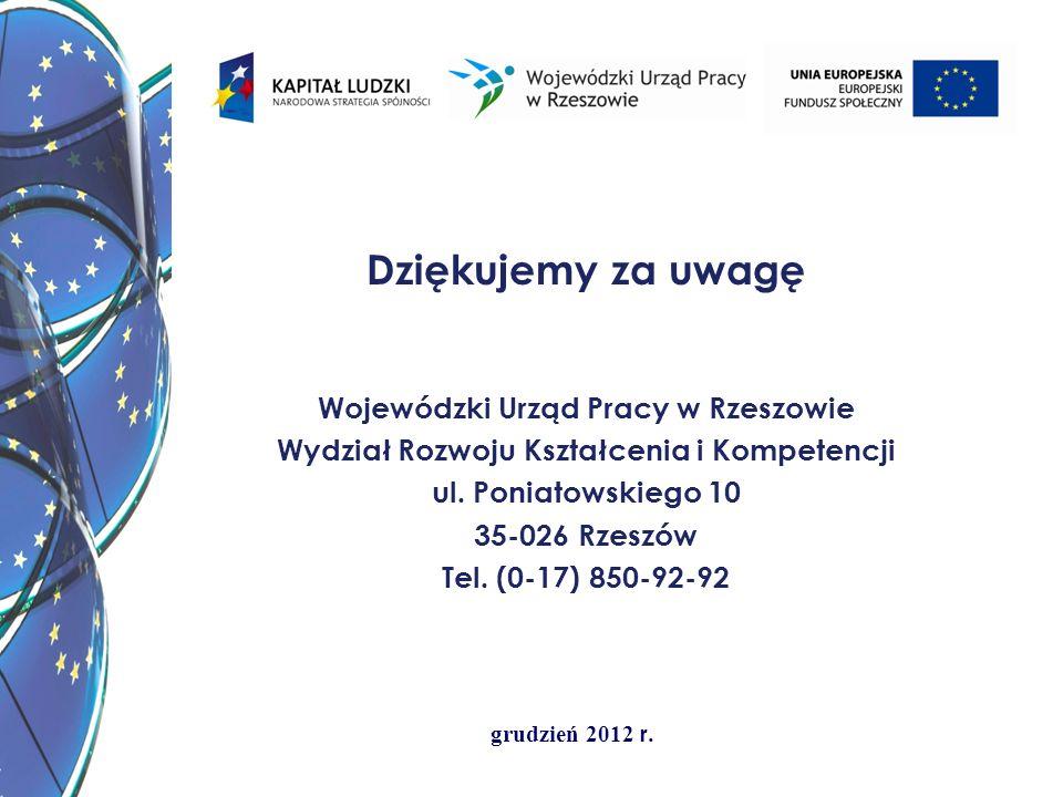grudzień 2012 r. Dziękujemy za uwagę Wojewódzki Urząd Pracy w Rzeszowie Wydział Rozwoju Kształcenia i Kompetencji ul. Poniatowskiego 10 35-026 Rzeszów