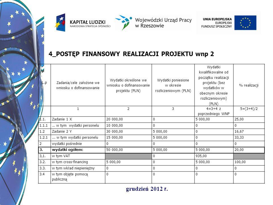 grudzień 2012 r. L.p Zadania/cele założone we wniosku o dofinansowanie Wydatki określone we wniosku o dofinansowanie projektu (PLN) Wydatki poniesione
