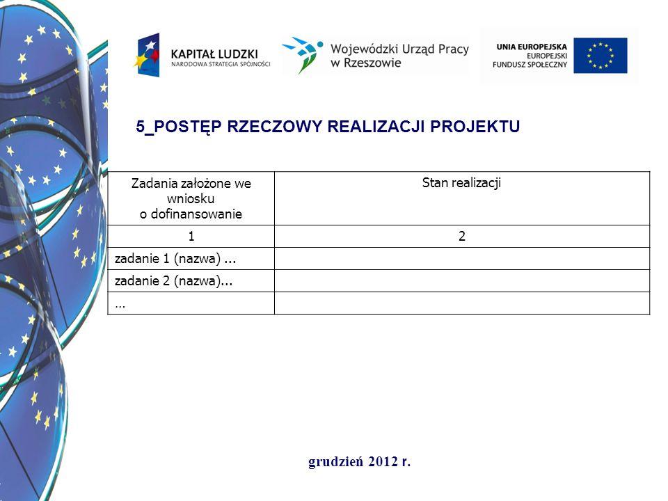 grudzień 2012 r. 5_POSTĘP RZECZOWY REALIZACJI PROJEKTU Zadania założone we wniosku o dofinansowanie Stan realizacji 12 zadanie 1 (nazwa)... zadanie 2