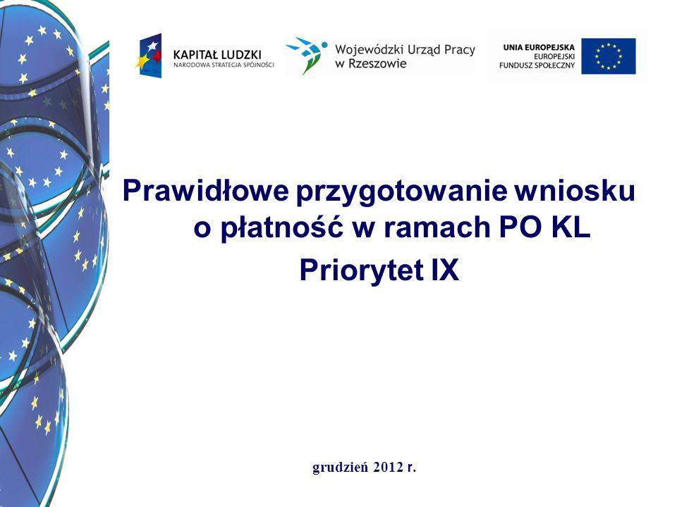 grudzień 2012 r. Prawidłowe przygotowanie wniosku o płatność w ramach PO KL Priorytet IX