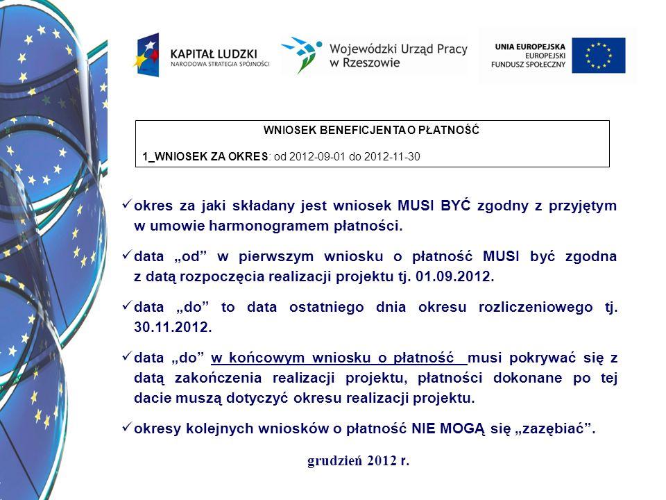 grudzień 2012 r. WNIOSEK BENEFICJENTA O PŁATNOŚĆ 1_WNIOSEK ZA OKRES: od 2012-09-01 do 2012-11-30 okres za jaki składany jest wniosek MUSI BYĆ zgodny z