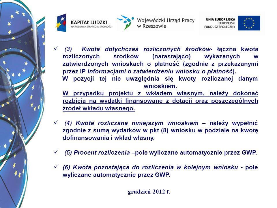grudzień 2012 r. (3) Kwota dotychczas rozliczonych środków- łączna kwota rozliczonych środków (narastająco) wykazanych w zatwierdzonych wnioskach o pł