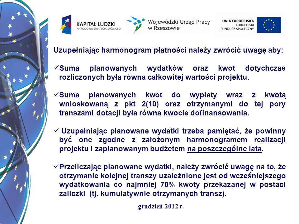 grudzień 2012 r. Uzupełniając harmonogram płatności należy zwrócić uwagę aby: Suma planowanych wydatków oraz kwot dotychczas rozliczonych była równa c