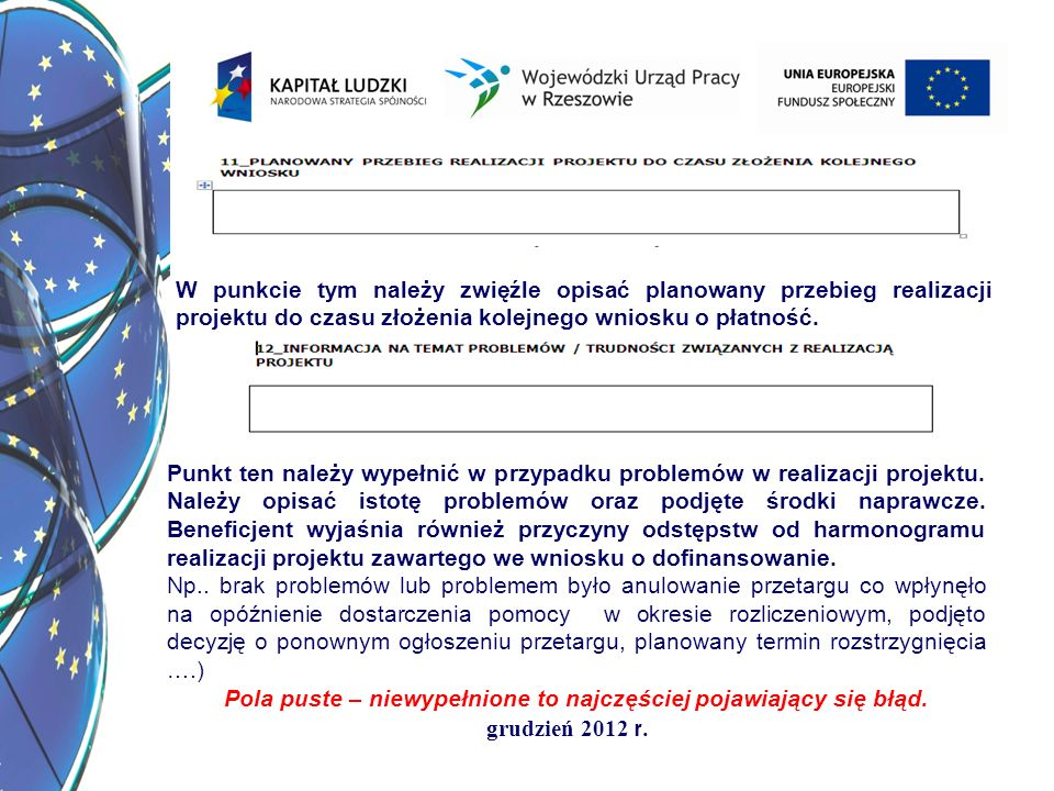 grudzień 2012 r. W punkcie tym należy zwięźle opisać planowany przebieg realizacji projektu do czasu złożenia kolejnego wniosku o płatność.. Punkt ten