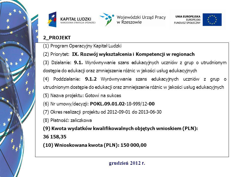 grudzień 2012 r. 2_PROJEKT (1) Program Operacyjny Kapitał Ludzki (2) Priorytet: IX. Rozwój wykształcenia i Kompetencji w regionach (3) Działanie: 9.1.