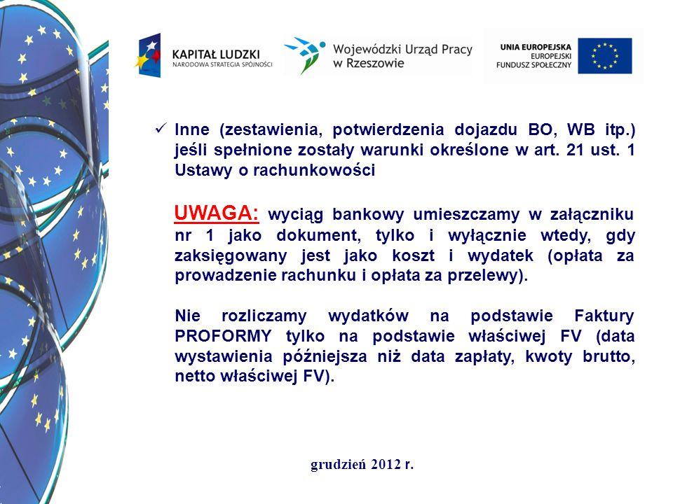 grudzień 2012 r. Inne (zestawienia, potwierdzenia dojazdu BO, WB itp.) jeśli spełnione zostały warunki określone w art. 21 ust. 1 Ustawy o rachunkowoś
