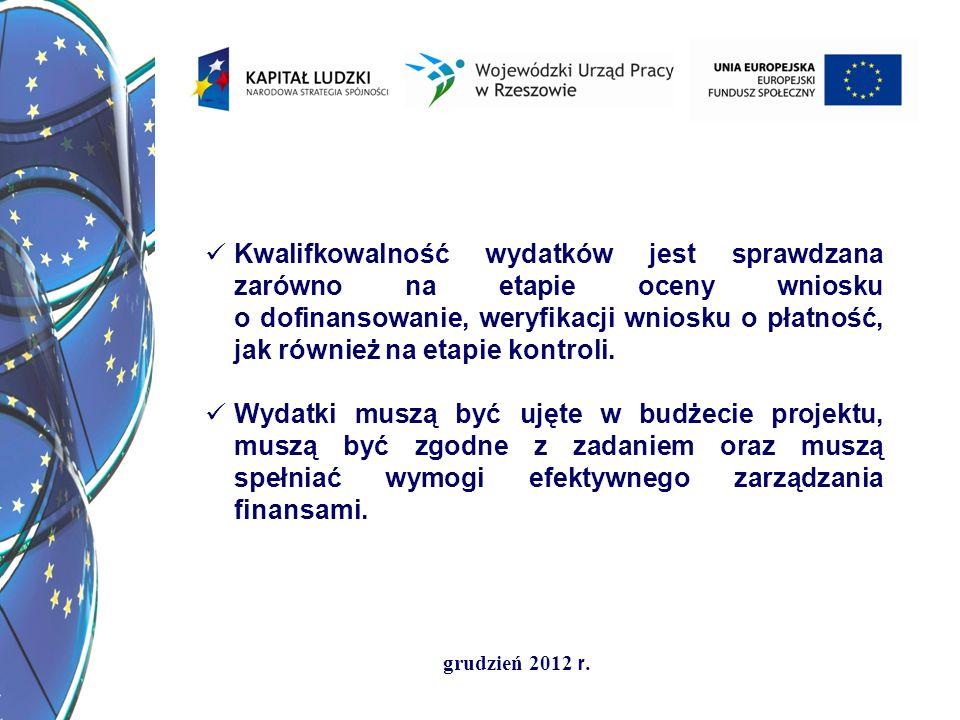 grudzień 2012 r. Kwalifkowalność wydatków jest sprawdzana zarówno na etapie oceny wniosku o dofinansowanie, weryfikacji wniosku o płatność, jak równie