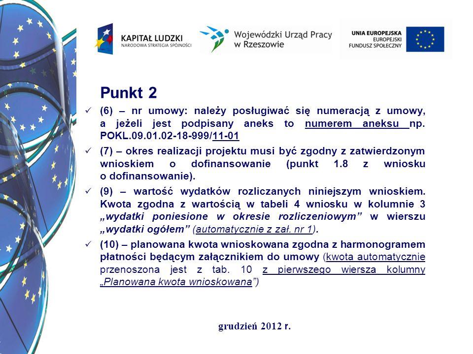grudzień 2012 r. Punkt 2 (6) – nr umowy: należy posługiwać się numeracją z umowy, a jeżeli jest podpisany aneks to numerem aneksu np. POKL.09.01.02-18