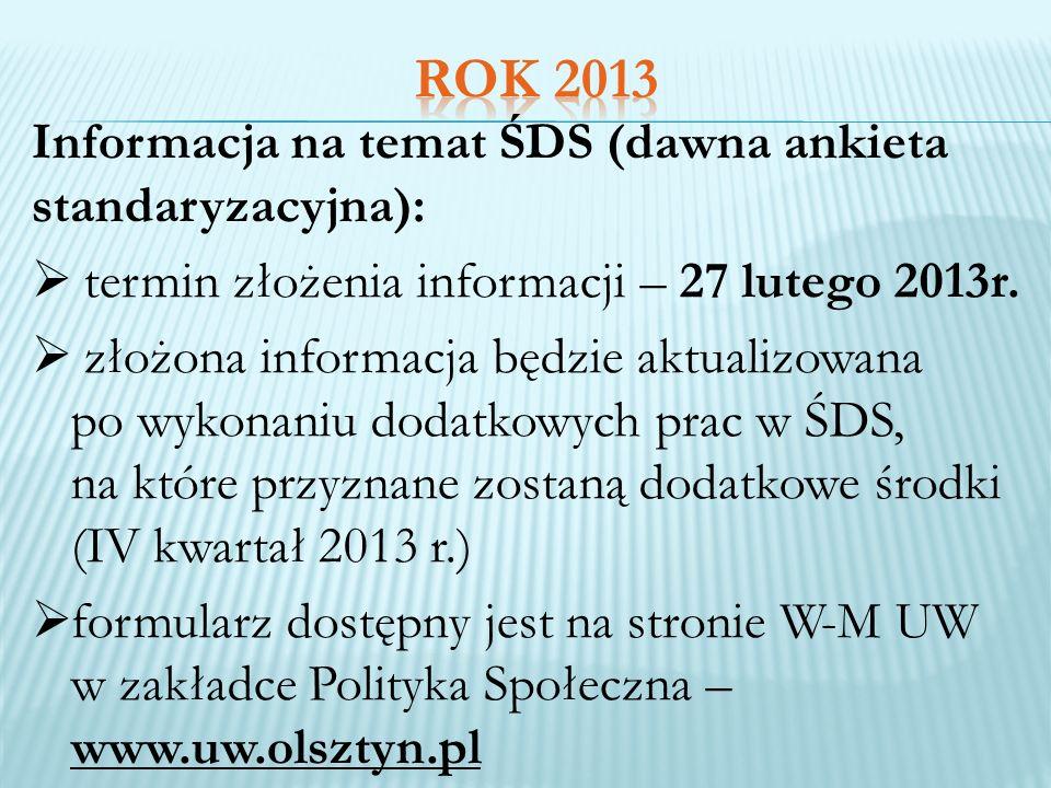 Informacja na temat ŚDS (dawna ankieta standaryzacyjna): termin złożenia informacji – 27 lutego 2013r. złożona informacja będzie aktualizowana po wyko