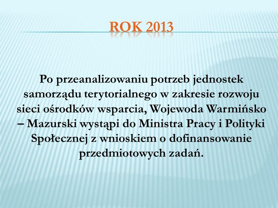 Po przeanalizowaniu potrzeb jednostek samorządu terytorialnego w zakresie rozwoju sieci ośrodków wsparcia, Wojewoda Warmińsko – Mazurski wystąpi do Mi