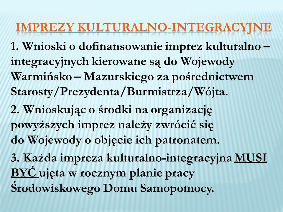 1. Wnioski o dofinansowanie imprez kulturalno – integracyjnych kierowane są do Wojewody Warmińsko – Mazurskiego za pośrednictwem Starosty/Prezydenta/B