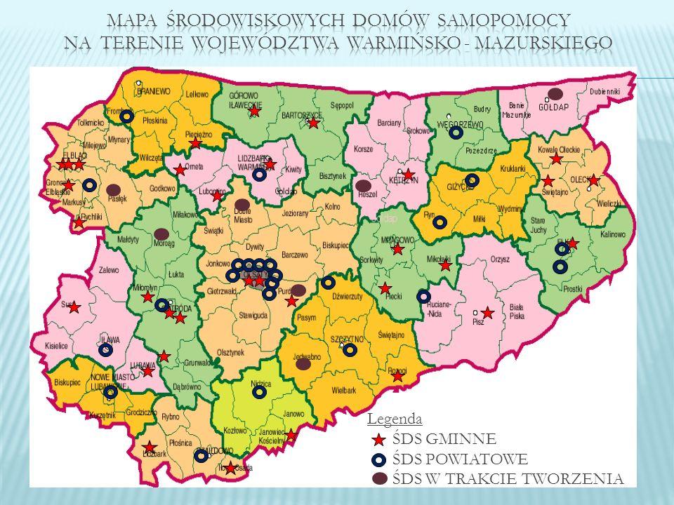 PowiatIlość ŚDSIlość miejsc Bartoszycki 2103 Braniewski 270 Działdowski 3107 Elbląski 3 + 1 w trakcie tworzenia 100+35 Powiat grodzki – m.