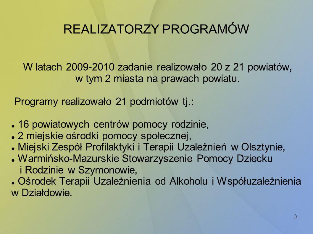 3 W latach 2009-2010 zadanie realizowało 20 z 21 powiatów, w tym 2 miasta na prawach powiatu. Programy realizowało 21 podmiotów tj.: 16 powiatowych ce