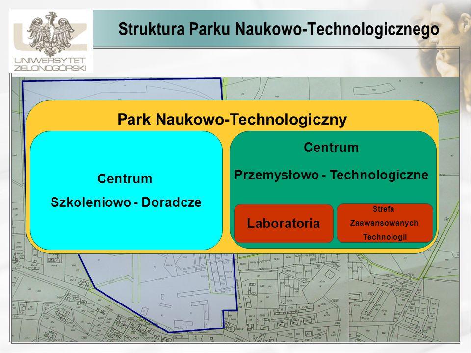 Struktura Parku Naukowo-Technologicznego Park Naukowo-Technologiczny Centrum Szkoleniowo - Doradcze Centrum Przemysłowo - Technologiczne Strefa Zaawan