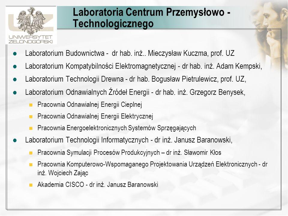 Laboratoria Centrum Przemysłowo - Technologicznego Laboratorium Budownictwa - dr hab. inż.. Mieczysław Kuczma, prof. UZ Laboratorium Kompatybilności E
