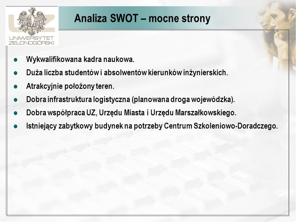 Analiza SWOT – mocne strony Wykwalifikowana kadra naukowa. Duża liczba studentów i absolwentów kierunków inżynierskich. Atrakcyjnie położony teren. Do