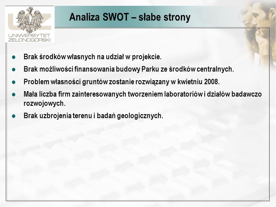 Analiza SWOT – słabe strony Brak środków własnych na udział w projekcie. Brak możliwości finansowania budowy Parku ze środków centralnych. Problem wła