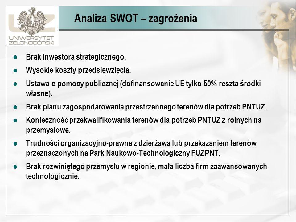 Analiza SWOT – zagrożenia Brak inwestora strategicznego. Wysokie koszty przedsięwzięcia. Ustawa o pomocy publicznej (dofinansowanie UE tylko 50% reszt