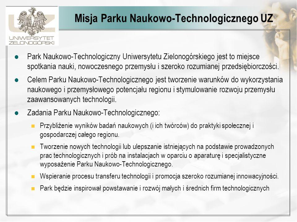 Misja Parku Naukowo-Technologicznego UZ Park Naukowo-Technologiczny Uniwersytetu Zielonogórskiego jest to miejsce spotkania nauki, nowoczesnego przemy