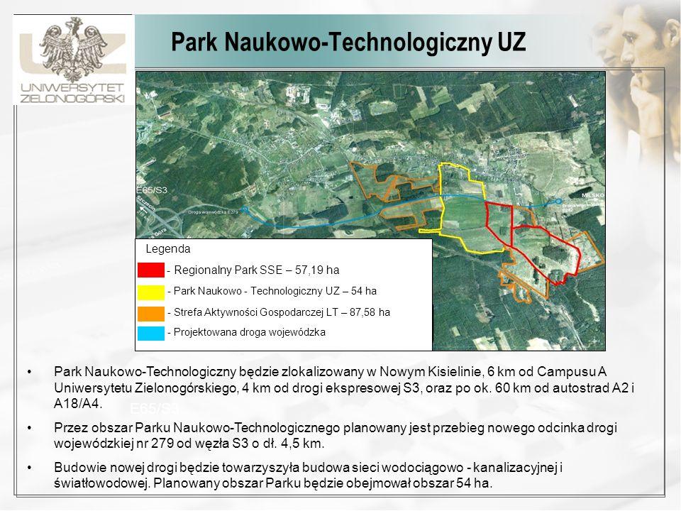 Park Naukowo-Technologiczny UZ Legenda - Regionalny Park SSE – 57,19 ha - Park Naukowo - Technologiczny UZ – 54 ha - Strefa Aktywności Gospodarczej LT