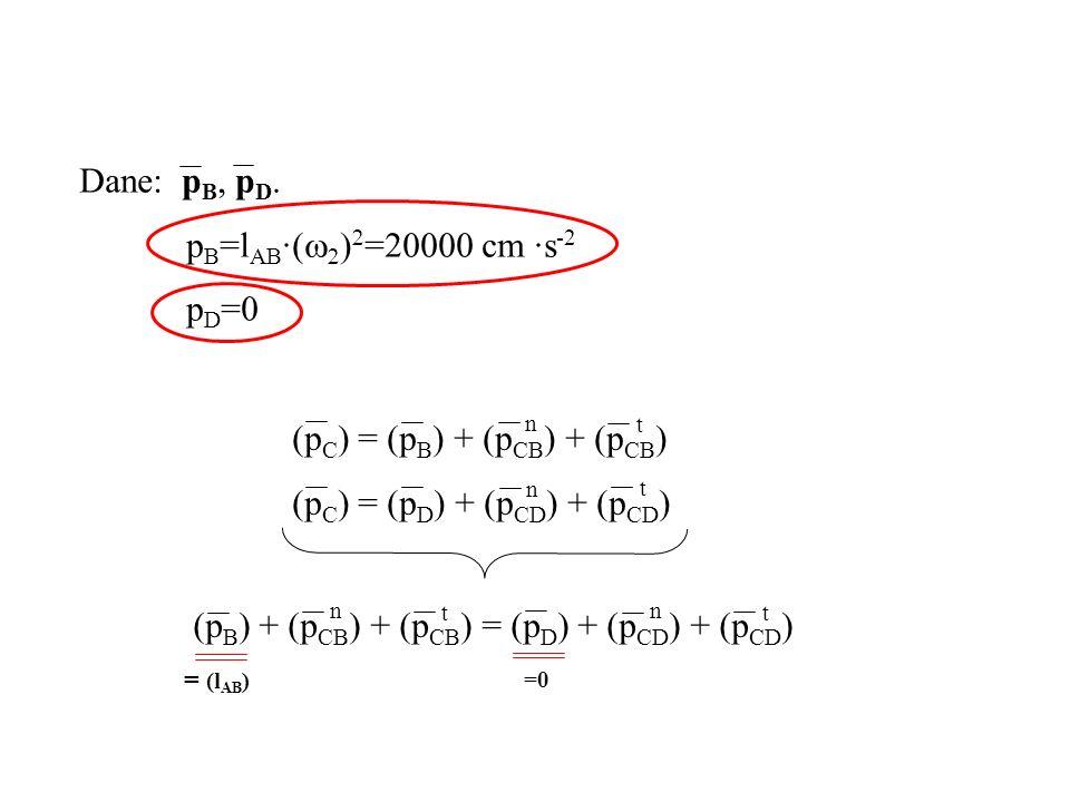 Dane: p B, p D. p B =l AB ·( =20000 cm ·s -2 p D =0 (p C ) = (p B ) + (p CB ) + (p CB ) (p C ) = (p D ) + (p CD ) + (p CD ) n t n t (p B ) + (p CB ) +