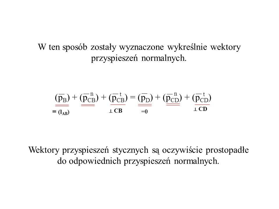 CB (p B ) + (p CB ) + (p CB ) = (p D ) + (p CD ) + (p CD ) tt nn =0 = (l AB ) W ten sposób zostały wyznaczone wykreślnie wektory przyspieszeń normalny