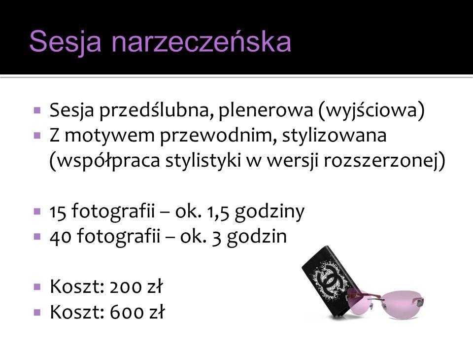 Sesja przedślubna, plenerowa (wyjściowa) Z motywem przewodnim, stylizowana (współpraca stylistyki w wersji rozszerzonej) 15 fotografii – ok. 1,5 godzi