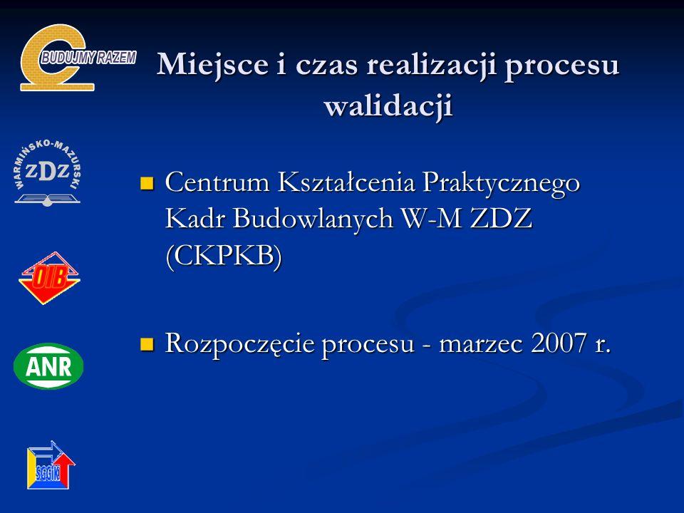 Miejsce i czas realizacji procesu walidacji Centrum Kształcenia Praktycznego Kadr Budowlanych W-M ZDZ (CKPKB) Centrum Kształcenia Praktycznego Kadr Budowlanych W-M ZDZ (CKPKB) Rozpoczęcie procesu - marzec 2007 r.