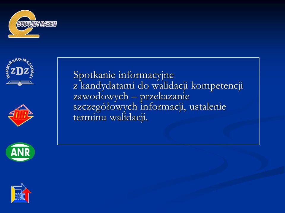 Spotkanie informacyjne z kandydatami do walidacji kompetencji zawodowych – przekazanie szczegółowych informacji, ustalenie terminu walidacji.