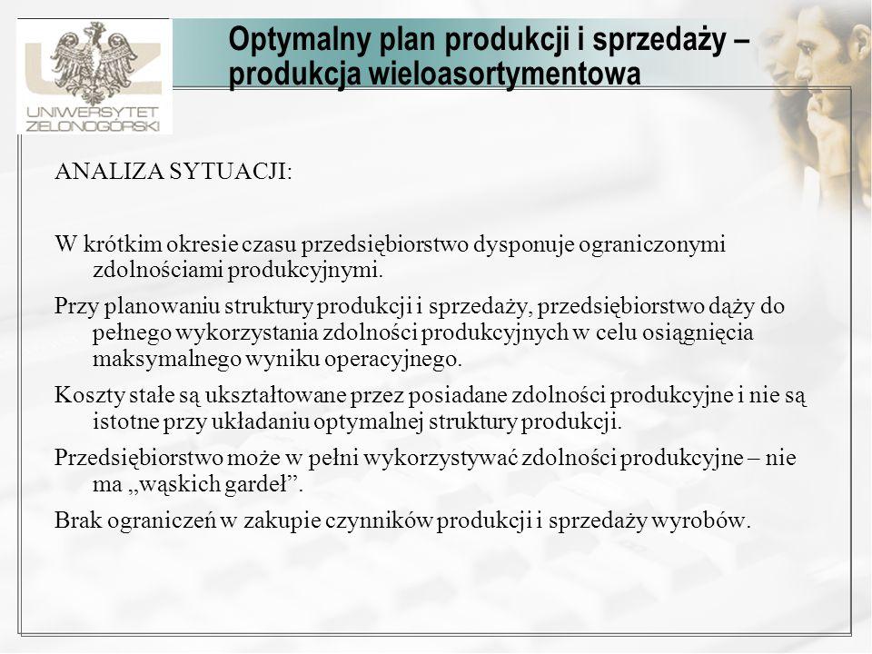 Optymalny plan produkcji i sprzedaży – produkcja wieloasortymentowa ANALIZA SYTUACJI: W krótkim okresie czasu przedsiębiorstwo dysponuje ograniczonymi